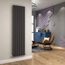 moderner vertikalheizkörper single designer heizstrahler grau hoch standheizkörper wandpaneel 1600 x 300 mm thermostatventile set anthrazit