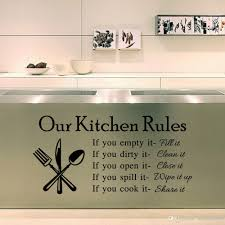 2015 Hot Our Kitchen Rules Quote Vinyl Art Wall Stickers Decal Mural Home Decor Pvc Sale Sticker From Qianseguodu3566