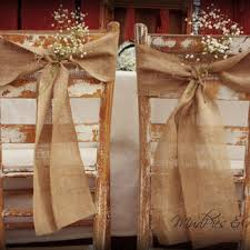 Set Of 2 Burlap Chair Sashes Rustic Wedding Decor