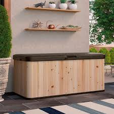Suncast Patio Storage Box by Suncast Hybrid Wood And Resin Deck Box 120 Gallon Deck Boxes