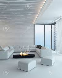 modernes design weiß stil wohnzimmer innenraum mit kamin