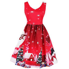 2019 2018 Winter Print Waist And Big Christmas Dress Rosegalcom