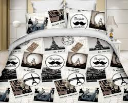 Paris Mustache bedding set full Eiffel Tower quilt duvet cover
