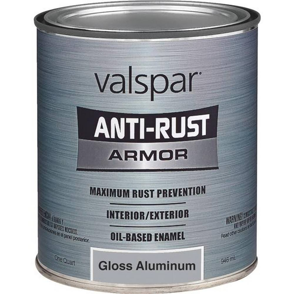 Valspar 21800 Armor Anti Rust Oil Based Enamel Paint - Gloss Aluminum, 1qt