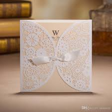 2017 Custom Made White Wedding Invitations Hollow Foil Stamping Uneven Ribbon Gift Lace Bow Printable Birthday Cards Favors