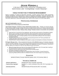 Technical Resume Examples Program Manager Example Information Technology 2016