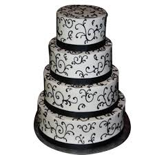800x800 1415145577841 4 Tier Black White Cake With Ribbon