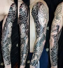 Male Cherry Blossom Black Ink Full Sleeve Japanese Tattoo Deisng Ideas