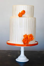Tiered White Cake with Orange Flowers