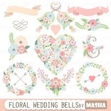 """Floral wedding clipart """"FLORAL WEDDING BELLS"""" with floral heart clipart flower wreaths"""