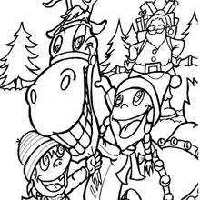 Children Give Thanks To Reindeer Christmas With Kids Coloring Page