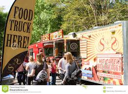 100 Food Trucks In Atlanta Sign Promotes Presence Of At Festival Editorial