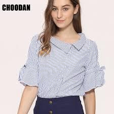 Novelty Blouses Shirts Women Striped 2017 New Stylish Sailor Collar Flare Short Sleeve Ladies Korean