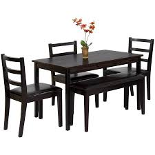 best choice products wood 5 piece dining table set w bench 3