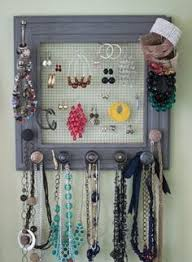 Wire Mesh Rabbit Fencing Or Other Frame Mismatched Door Knobs And You Have DIY Jewelry Holder