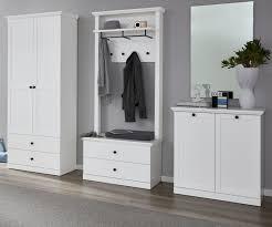 garderobe baxter 4 teilig in weiß landhaus garderobenset mit schrank paneel schuhbank und kommode 273 x 196 cm