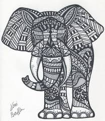 Zentangle Elephant Coloring Pages Free