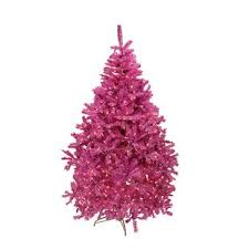 65 Orchid Pink Cedar Pine Artificial Christmas Tree With Clear Light