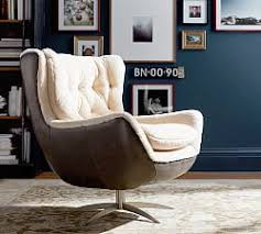 West Elm Everett Chair Leather by All Chairs U0026 Ottomans Pottery Barn