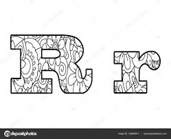 Anti Coloring Book Alphabet The Letter R Vector Illustration Stock 139988074