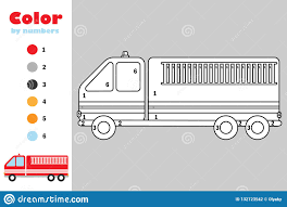 100 Fire Truck Game In Cartoon Style Color By Number Education Paper