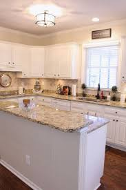 Granite Countertops Kitchen Wall Colors With White Cabinets Lighting Flooring Sink Faucet Island Backsplash Mirror Tile Stainless Teel Cherry Wood Grey