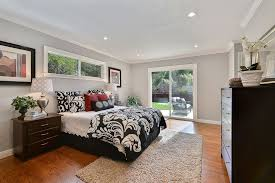 Transitional Master Bedroom With High Ceiling Carpet Shag Ivory Area Rug Marcheline Damask
