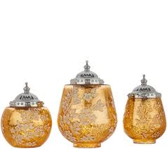 Gold Mercury Glass Bath Accessories by Set Of 3 Illuminated Floral Mercury Glass Jars By Homereflections