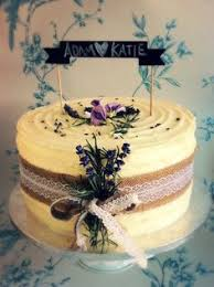 Wedding Cake Blackboard Topper Hessian Lace Trim And Decorated With Lavender Rosemary Buttercream