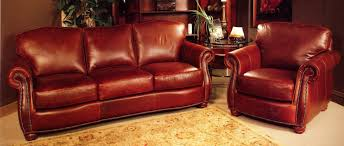 Rustic Red Leather Sofa And Chair With Nail Head Trim