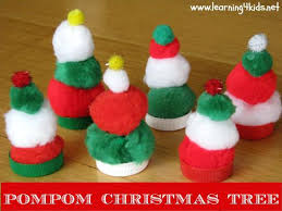 Easy Kid Christmas Crafts Cheap List Of Activities Learning 4 Kids Pompom Trees Preschool Ornament