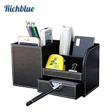 rangement stylo bureau en bois pu en cuir multi fonctionnelle bureau papeterie organisateur