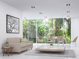 moderne weiße wohn und esszimmer mit blick auf die natur 3d render bilder myloview