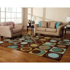 new blue turquoise brown aqua geometric area rug circles ring room