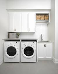 white modern laundry room with gray staggered floor tiles modern