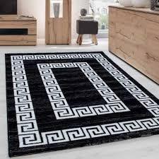 teppich modern designer wohnzimmer bordüre versace muster meliert schwarz weiss