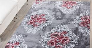 details zu teppich modern glitzergarn vintage blumenpracht