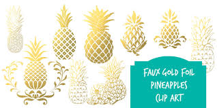 Rose gold pineapple clipart Gold foil pineapples pineapple