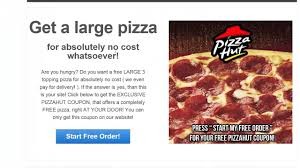Free Pizzahut Coupon! Get A LARGE 3 TOPPING PIZZA FOR FREE!