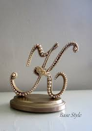 Wedding Cake Topper READY TO PURCHASE Custom Vintage Champagne Pearl Gold Letter K