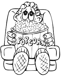 Movie Coloring Page Of A Kid With Popcorn