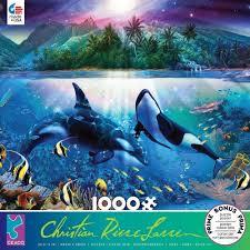 100 Christian Lassen Artist CEACO CHRISTIAN RIESE LASSEN JIGSAW PUZZLE HARMONIOUS ORCAS 1000 PCS