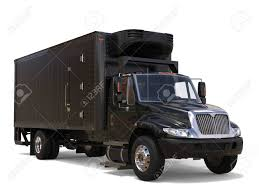 Black Refrigerator Truck With Black Trailer Unit Stock Photo ...