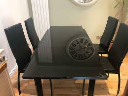 Black Glass Extendable Dining Table + Chairs | In Larkhall, South  Lanarkshire | Gumtree Alexia 5 Pcs Contemporary Set 4 Black Chairs And White Modern Table Inspire 5piece Greywhite Kids Table And Chair Set Garden Trading Rive Droite Bistro Chairs Shutter Blue Costway Piece Ding Wood Metal Kitchen Breakfast Fniture Black Rakutencom Black Table Chairs Dorel Living Devyn 3piece Faux Marble Pub Ikea In Camberwell Ldon Gumtree Brooklyn Oak Leather Bro103 Warmiehomy Glass 6 With 2375 Square Inoutdoor 2 Meco Sudden Comfort Deluxe Double Padded Back Card Courtyard Cosco Foldinhalf Folding