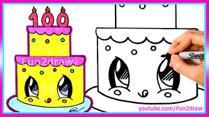 How To Draw and Color a Cute Cake Easy 100 Million Views Celebration