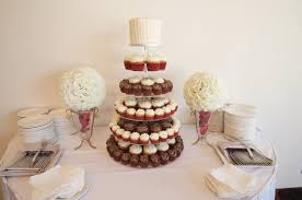 Beautiful White Red And Chocolate Cupcake Wedding Tower With Rustic