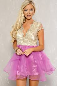 lavender gold embroider metallic sheer a line party dress