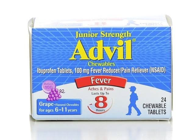 Advil Fever Reducer Pain Reliever Ibuprofen Chewables Tablets - Grape Flavor, for Ages 6-11, 24pk