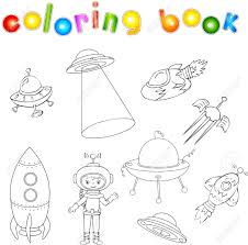 Livre De Coloriage Vaisseau Spatial Illustration De Vecteur Dedans