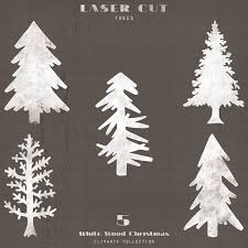 Rustic Pine Trees White Wood Christmas Laser Cut Cliparts